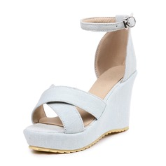 Women's Canvas Wedge Heel Sandals Wedges With Buckle shoes