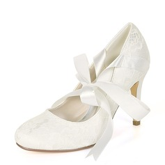 Women's Silk Like Satin Stiletto Heel Pumps With Ribbon Tie Lace-up