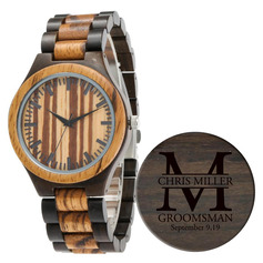 Groomsmen Gifts - Personalized Mens Custom Engraved Ebony Watches
