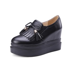 Women's Leatherette Wedge Heel Pumps Platform Closed Toe With Lace-up Tassel shoes