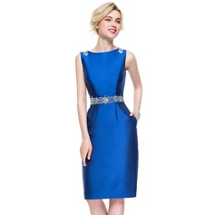 Sheath/Column Scoop Neck Knee-Length Satin Cocktail Dress With Beading Sequins