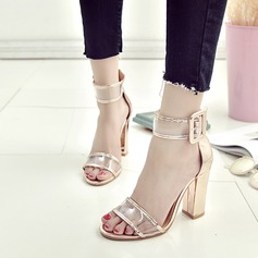 Women's PVC Chunky Heel Sandals Pumps Peep Toe With Buckle shoes