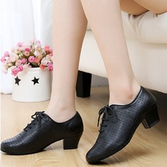 Women's Real Leather Flats Sneakers Practice Dance Shoes