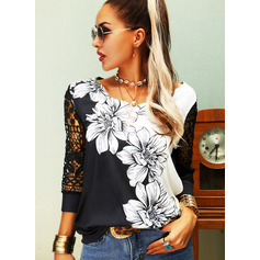 Regular Cotton Blends V-Neck Floral Lace Print Fitted Blouses (1003256806)