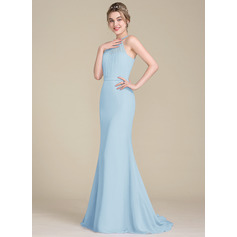 Trumpet/Mermaid Scoop Neck Sweep Train Chiffon Tulle Bridesmaid Dress With Ruffle