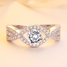 Sterling Silver Cubic Zirconia Infinity Round Cut Promise Rings (289224743)