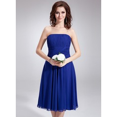 A-Line Strapless Knee-Length Chiffon Bridesmaid Dress With Ruffle