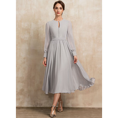A-Line Scoop Neck Tea-Length Chiffon Cocktail Dress With Bow(s)