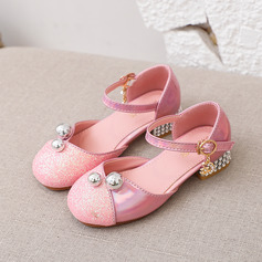Girl's Round Toe Closed Toe Leatherette Low Heel Flats Sneakers & Athletic Flower Girl Shoes With Buckle Sparkling Glitter Pearl