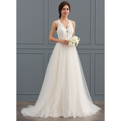 A-Line V-neck Sweep Train Tulle Lace Wedding Dress