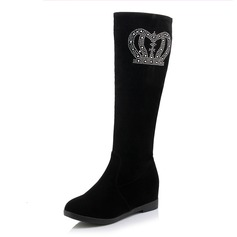 Women's Suede Others Boots Mid-Calf Boots With Rhinestone shoes