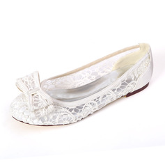 Women's Lace Satin Flat Heel Flats With Bowknot