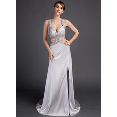 Sheath/Column Watteau Train Charmeuse Prom Dresses With Beading Split Front
