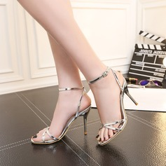 Women's Patent Leather Stiletto Heel Sandals Pumps With Buckle shoes (087105622)