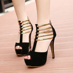 Women's Suede Stiletto Heel Sandals Pumps Platform Peep Toe With Zipper Hollow-out shoes