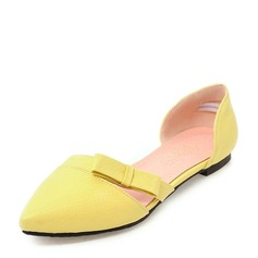 Women's Microfiber Leather Flat Heel Sandals Flats Closed Toe With Bowknot shoes
