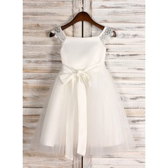 A-Line/Princess Tea-length Flower Girl Dress - Satin/Tulle Sleeveless Square Neckline With Sash