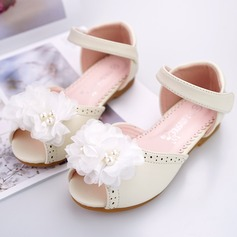 Girl's Peep Toe Ballet Flat Microfiber Leather Flat Heel Flats Flower Girl Shoes With Beading Velcro Flower