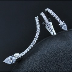 Pretty Copper/Zircon/S925 Sliver Ladies' Earrings