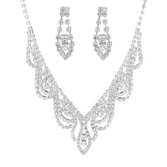 Unique Copper/Silver Plated With Rhinestone Ladies' Jewelry Sets