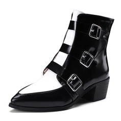 Women's Patent Leather Chunky Heel Boots Mid-Calf Boots With Buckle Zipper shoes