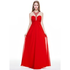 Empire Halter Floor-Length Chiffon Prom Dresses With Ruffle Beading Sequins