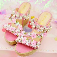 Women's Suede Wedge Heel Flip-Flops Platform Beach Wedding Shoes With Rhinestone Satin Flower