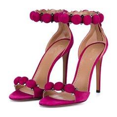 Women's Suede Stiletto Heel Sandals Pumps Peep Toe With Others shoes (087157076)
