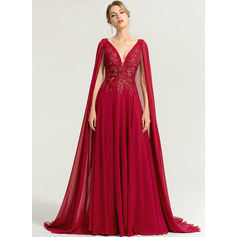 A-Line V-neck Floor-Length Chiffon Evening Dress With Sequins (017167718)
