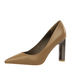 Women's Leatherette Chunky Heel Pumps Closed Toe With Others shoes