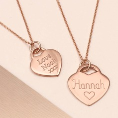 Personalized Couples' Eternal Love 925 Sterling Silver With Heart Engraved/Bar Necklaces For Bride/For Bridesmaid/For Mother/For Friends/For Couple