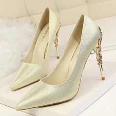 Women's Satin Stiletto Heel Pumps Closed Toe With Jewelry Heel shoes (085114783)