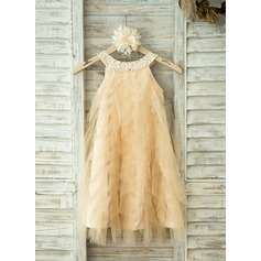 A-Line/Princess Knee-length Flower Girl Dress - Tulle Sleeveless Scoop Neck With Rhinestone