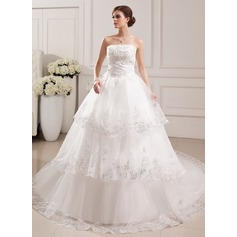 Ball-Gown Strapless Cathedral Train Tulle Wedding Dress With Lace Beading Flower(s)