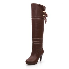 Women's Leatherette Stiletto Heel Platform Mid-Calf Boots With Ruched Zipper shoes