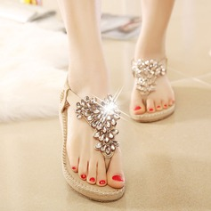 Women's PU Wedge Heel Sandals Wedges With Rhinestone Elastic Band shoes