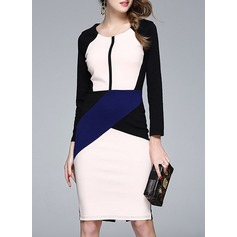 Polyester With Stitching Knee Length Dress (199135024)