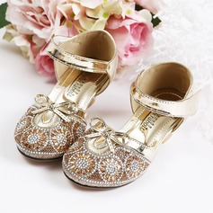Girl's Closed Toe Sparkling Glitter Flower Girl Shoes With Velcro