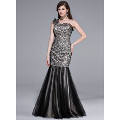 Trumpet/Mermaid One-Shoulder Floor-Length Tulle Lace Evening Dress With Cascading Ruffles