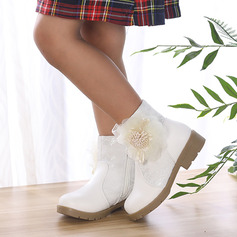 Girl's Round Toe Closed Toe Ankle Boots Leatherette Low Heel Flats Boots Flower Girl Shoes With Flower Zipper
