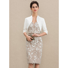 Sheath/Column V-neck Knee-Length Lace Mother of the Bride Dress (267213805)
