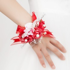 Red Free-Form Satin/Cotton Wrist Corsage -