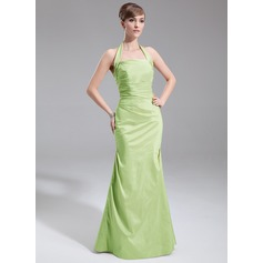 A-Line/Princess Halter Floor-Length Taffeta Bridesmaid Dress With Ruffle
