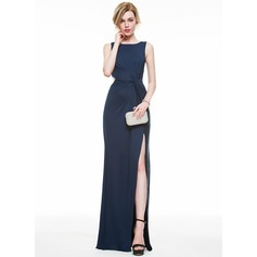 Sheath/Column Scoop Neck Floor-Length Jersey Evening Dress With Ruffle Split Front