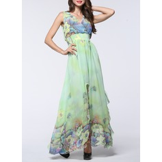 Chiffon With Print Maxi Dress (199129083)