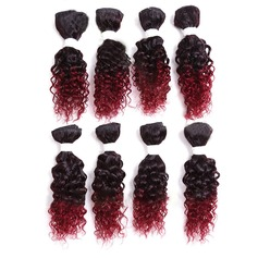 Curly Synthetic Hair Human Hair Weave 8pcs 180g