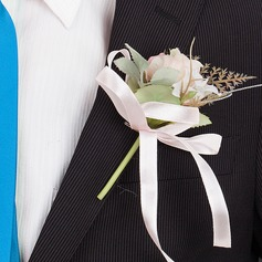 Pretty Round Silk Boutonniere/Men's Accessories