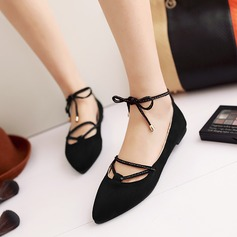 Women's Suede Flat Heel Flats Platform With Lace-up shoes (086145708)