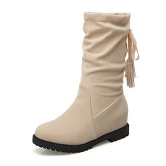 Women's Suede Low Heel Closed Toe Boots Mid-Calf Boots With Tassel shoes