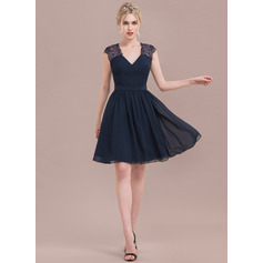 V-neck Knee-Length Chiffon Lace Bridesmaid Dress (266213349)